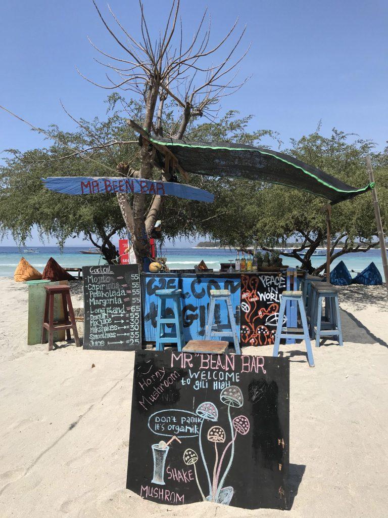 beach bar on Gili T